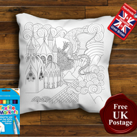 Dragon Colouring Cushion Cover, With or Without Fabric Pens Choose Your Size
