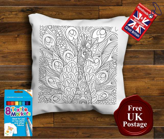 Peacock Colouring Cushion Cover, With or Without Fabric Pens Choose Your Size