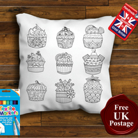 Cupcakes Colouring Cushion Cover, With or Without Fabric Pens Choose Your Size