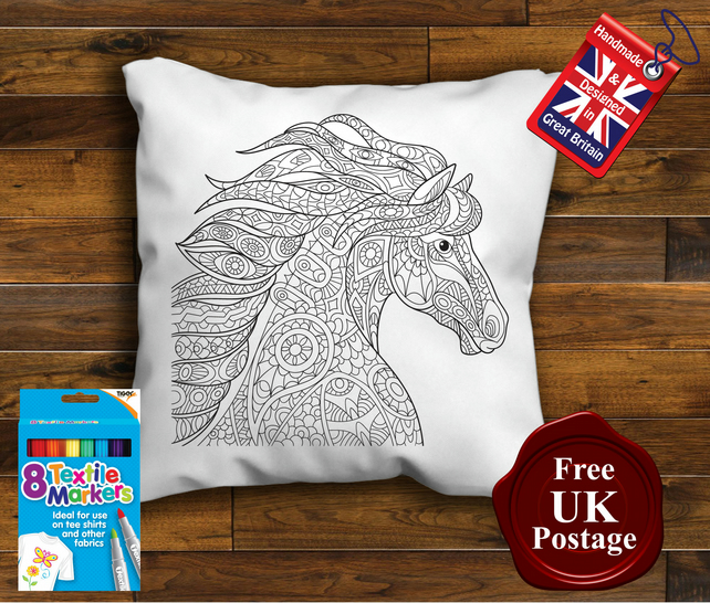 Horse Colouring Cushion Cover, With or Without Fabric Pens Choose Your Size