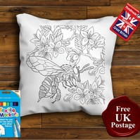 Bumble Bee Colouring Cushion Cover, With or Without Fabric Pens Choose Your Size