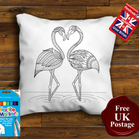 Flamingo Colouring Cushion Cover, With or Without Fabric Pens Choose Your Size