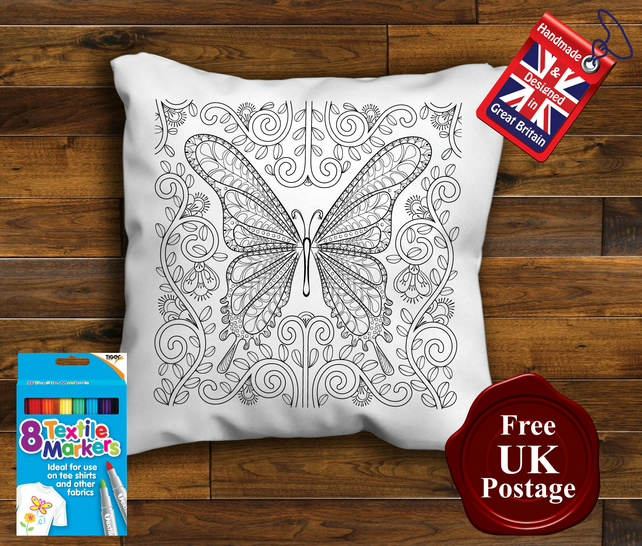 Butterfly Colouring Cushion Cover, With or Without Fabric Pens Choose Your Size