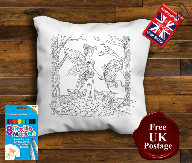 Fairy Colouring Cushion Cover, With or Without Fabric Pens Choose Your Size