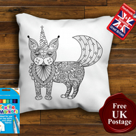 Unicorn Cat Colouring Cushion Cover With or Without Fabric Pens Choose Your Size