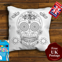 Sugar Skull Colouring Cushion Cover With or Without Fabric Pens Choose Your Size
