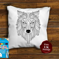 Fox Head Colouring Cushion Cover With or Without Fabric Pens Choose Your Size