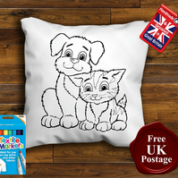 Cat & Dog Colouring Cushion Cover With or Without Fabric Pens Choose Your Size