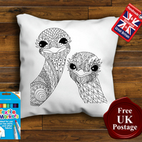 Ostrich Colouring Cushion Cover With or Without Fabric Pens Choose Your Size