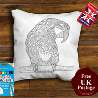 Parrott Colouring Cushion Cover With or Without Fabric Pens Choose Your Size