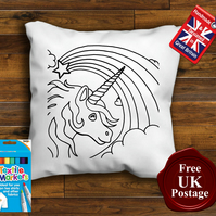 Baby Unicorn Colouring Cushion With or Without Fabric Pens Choose Your Size