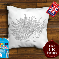 Hedgehog Colouring Cushion Cover, With or Without Fabric Pens Choose Your Size