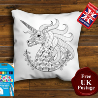 Unicorn Colouring Cushion Cover With or Without Fabric Pens Choose Your Size