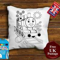 Thomas Colouring Cushion Cover, With or Without Fabric Pens Choose Your Size
