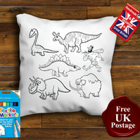 Dinosaur Colouring Cushion Cover, With or Without Fabric Pens Choose Your Size