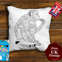 Monkey Colouring Cushion Cover, With or Without Fabric Pens Choose Your Size