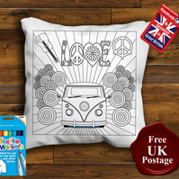 VW Camper Colouring Cushion Cover, With or Without Fabric Pens Choose Your Size