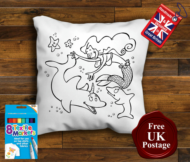 Mermaid Colouring Cushion Cover With or Without Fabric Pens Choose Your Size