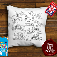 Transport Colouring Cushion Cover With or Without Fabric Pens Choose Your Size