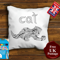 Cat Colouring Cushion Cover With or Without Fabric Pens Choose Your Size