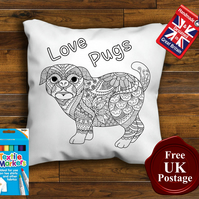 Pug Colouring Cushion Cover With or Without Fabric Pens Choose Your Size