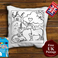2 Unicorns Colouring Cushion Cover With or Without Fabric Pens Choose Your Size