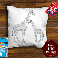 Giraffe Colouring Cushion Cover With or Without Fabric Pens Choose Your Size