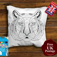 Tiger Colouring Cushion Cover With or Without Fabric Pens Choose Your Size