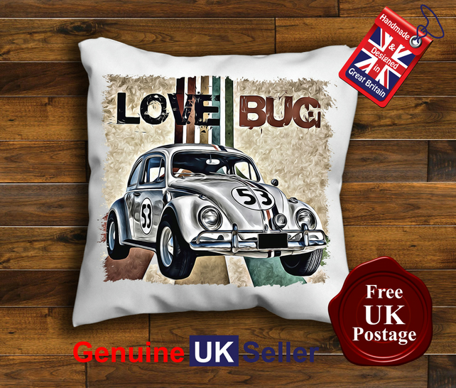 Herbie The Love Bug Cushion Cover, Choose Your Size