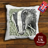 Badger Cushion Cover, Badger Cushion, Choose Your Size & Reverce Colour Handmade