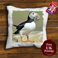 Puffin Cushion Cover, Puffin Cushion, Choose Your Size Handmade