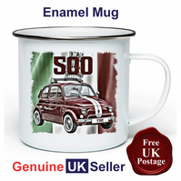 Classic Fiat 500 Mug, Camping Mug, Hiking Mug, Fishing Mug, Outdoor Mug,