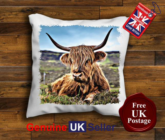 Highland Cow Cushion Cover, Highland Cattle Cushion, Choose Your Size Handmade