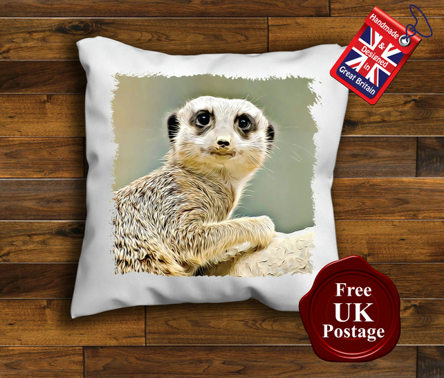 Meerkat Cushion Cover, Meerkat Cushion, Choose Your Size Handmade