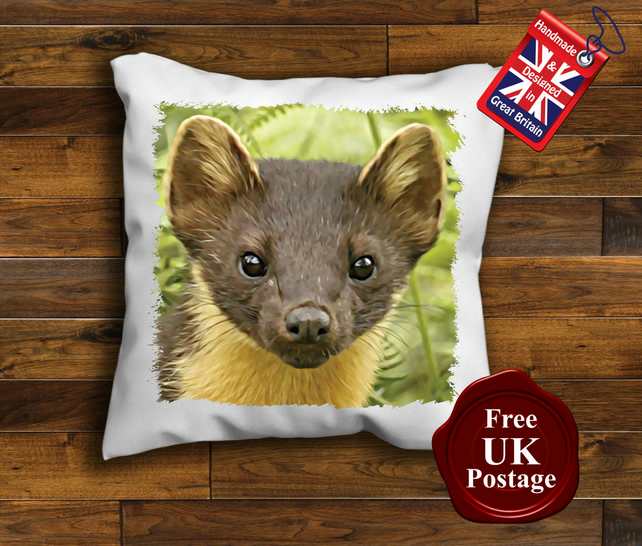 Pine Marten Cushion Cover, Pine Marten Cushion, Choose Your Size Handmade