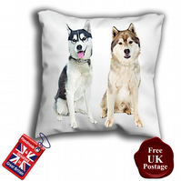 Husky Cover, Black and White husky, Brown Husky Cushion Cover