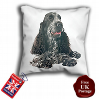 English Cocker Spaniel, Black Spaniel Cover, Spaniel Cushion Cover