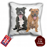 Staffie Cushion Cover, Brown and Black Staffie,