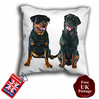 Rottweiler Cushion Cover, Rottie Cover, Black Rottweiler