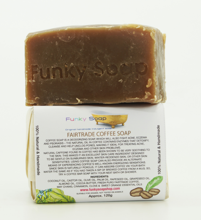 1 piece of Fairtrade Coffee Soap, natural handmade 120g
