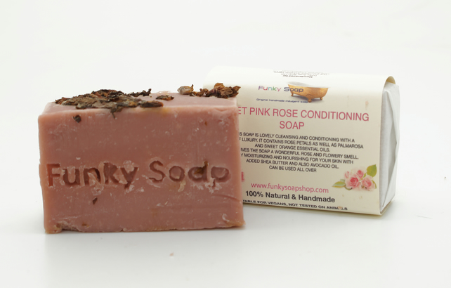 1 piece Sweet Pink Rose Conditioning Soap, 100% Natural Handmade, 65g