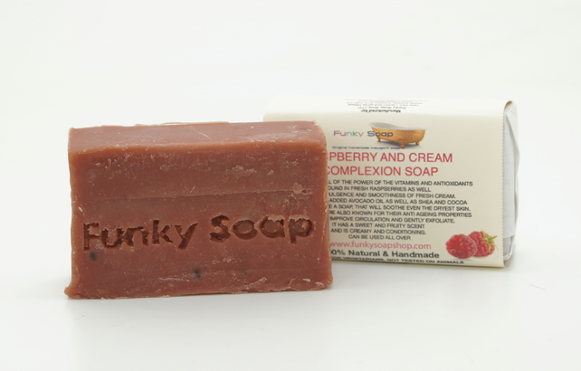 1 piece Raspberry and Cream Complexion Soap, 100% Natural Handmade, 65g