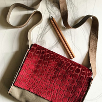 Leather and Velvet Shoulder Bag