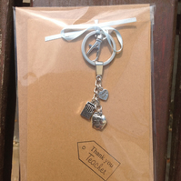 Greetings card with key ring attached, teacher gift.