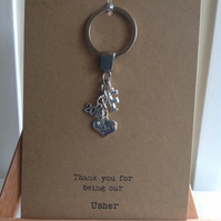 Kraft card with keyring attached, gift for your Usher