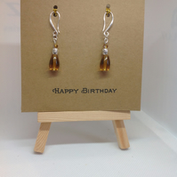 Greetings card with earrings attached
