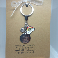 keyring attached to a Kraft greetings card