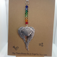 Handmade suncatchers for car rear view mirror, attached to greetings card