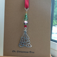 Handmade Glass bead Christmas Tree suncatcher, attached to a card.