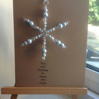 Handmade Glass bead Christmas Tree decoration, attached to a card.